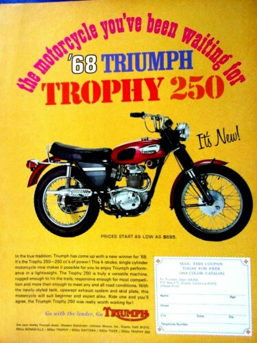 1968 Triumph Trophy 250 One You Been Waiting For Original Print Ad 8.5 x 11""