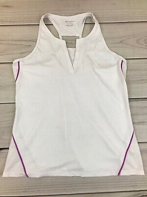 Fabletics White Orchid Purple Cut Out Racerback Seria Athletic Tank Top XL 14-16