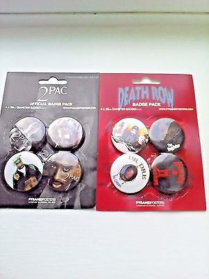 Tupac Shakur/Snoop Dogg/Dr Dre/ 2pac/Death Row Records 38mm Badges -TWO X 4 PACK