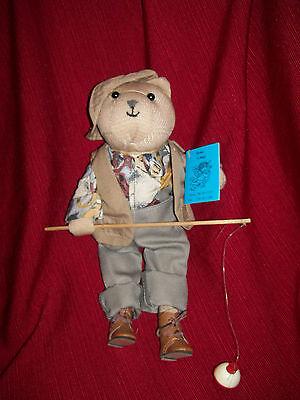 "Plush  Fishing Bear w/ pole, vest Fisherman Gift  Michael  Dad Father's Day 12"""