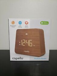Capello Digital LED Modern Mantle Alarm Clock Wood Grain Finish New