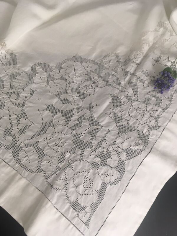 Antique Victorian Linen And Lace Queen Coverlet Bedspread Cherubs