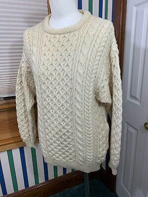 Men's Classic Aran 100% Pure Wool Cabled Sweater Ireland Cladyknit Crew Neck XL