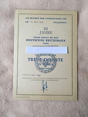 Urkunde Auszeichnung 20 Jahre Deutsche Reichsbahn Silber Medaille Treue Dienste
