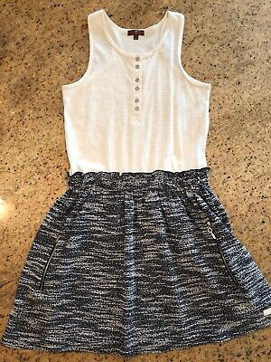 7 for all Mankind Girls Off White & Black Dress Size L New - Off White Dresses For Girls