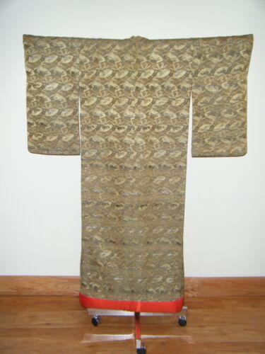 Antique Japanese Meiji Uchikake Wedding Kimono w/ Fans & Floral