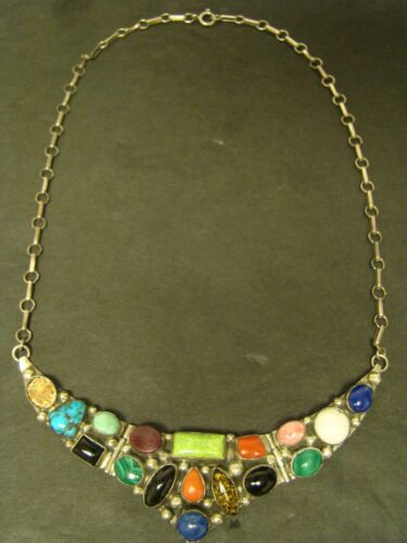 """EMER THOMPSON NECKLACE Sterling Silver Onyx Turquoise Navajo Artisan Multi  18"""""""