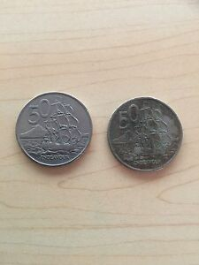 1967 New Zealand round 50c coins x2 Manly West Brisbane South East Preview