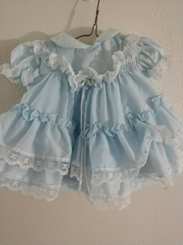 Vintage Bryan Baby Girl Dress 6-9 Months light blue White polka dot Ruffles Lace