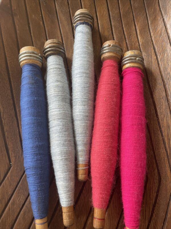 Set of 5 Vintage Antique Wooden Yarn Thread Cotton Wool Spool Spindle Bobbins