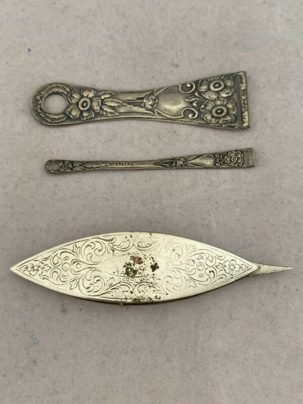 Vintage Etched GERSILVER Tatting Shuttle from Germany with Sterling Bodkin