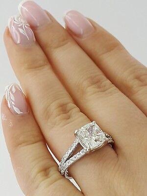 2.59 ct Platinum Cushion Cut Diamond Split Shank Engagement Ring GIA F / VVS1 5