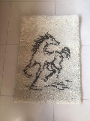 Wandteppich geknüpft,retro,Pferd,70er Jahre,neutral,Berber,Handarbeit, 85x60cm