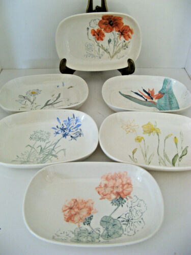 6 HTF VTG EASTERN AIRLINES ABCO USA dishes / plates w/ flowers signed H. O