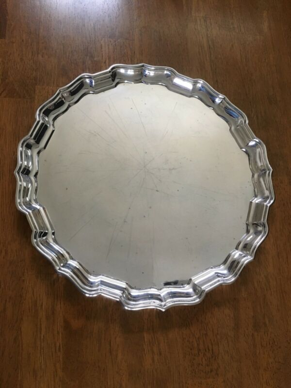 LARGE STERLING SILVER CHIPPENDALE TRAY. HALLMARKED BIRKS, OVER 33oz