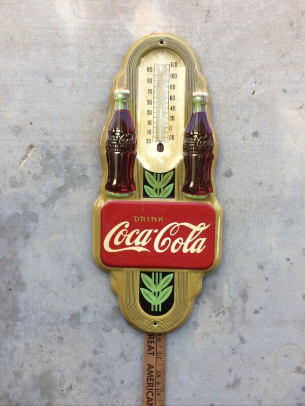 Vintage Double Bottle Coca-Cola Advertising Tin Wall Thermometer