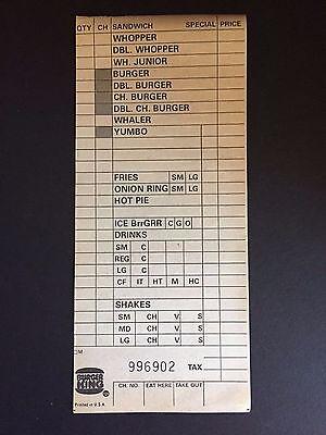 1983 Burger King   Un Used  Menu Slip  Yumbo   Whaler
