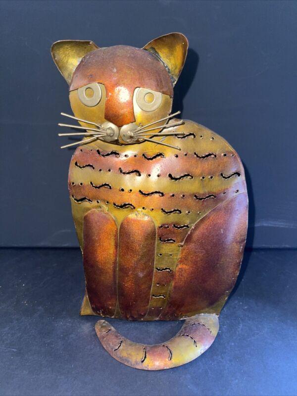 Vintage Metal Cat Tealight Lamp