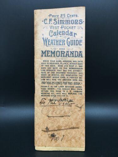 C.F. Simmons Vest Pocket Calendar Weather Guide and Memoranda