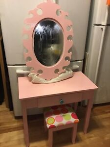 Pink kids height vanity with mirror and stool-