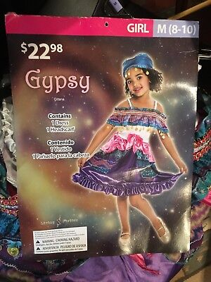 Gypsy Girl Halloween Costume (Gypsy Halloween Costume, Dress Up, Size M (8-10) Girl NEW, Free shipping)