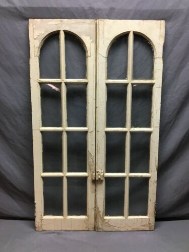 Pair Antique Arch Top Cabinet Cupboard Doors Tan Old 13 x 41 VTG Chic 835-20B