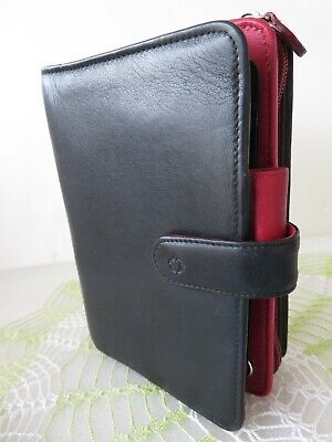 Franklin Covey Rare Compact Blackred Leather Planner Binder W Wallet-section