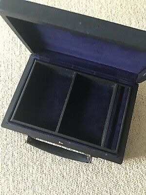 Small Antique Vintage Blue Leather Jewellery Box Case