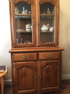 Oak dining hutch cabinet with light