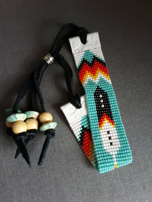 Native American Made Hand Beaded Feather Bracelet