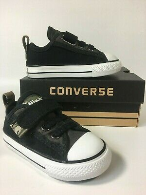 Baby Boys Converse Camo Slip on Black Strap Trainers Shoes Size UK...