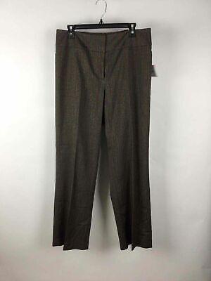 Kasper Brown Red Striped Contour Waist Modern Fit Wide Leg Lana Pants 10 ()