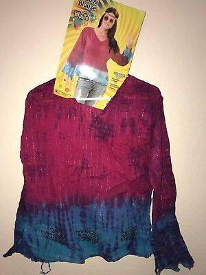 women's NEW GROOVY BLOUSE HALLOWEEN COSTUME SHIRT HIPPIE one size up to 14/16 @@ (Womens Halloween Costumes Size 14-16)