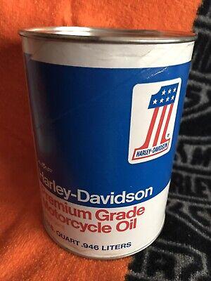 Vintage Harley Davidson Premium Grade Motorcycle Oil, Unopened Collectible Can