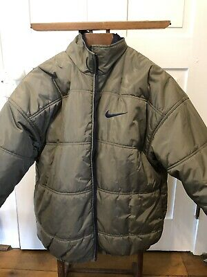 Vtg Nike reversible Puffer Jacket Navy Blue Gray/olive L 90s Big Logo Swoos Nike Navy Blue Jacket