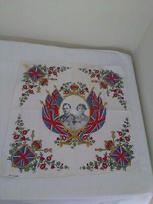 Vintage 1930's King George VI Coronation Souvenir Handkerchief Hanky c1937