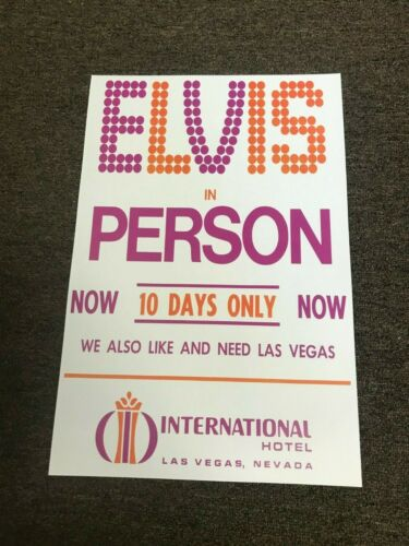 Elvis Presley in Person Las Vegas International Hotel Promo Poster 12x18