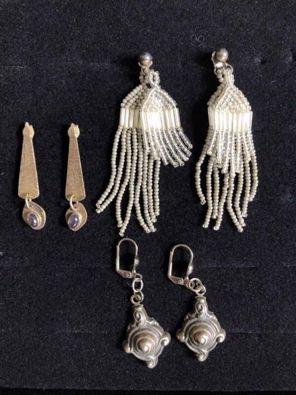 Vintage Boho Pierced Earrings LOT Of 3 Seed Beads Amethyst 1 Stamped Sterling