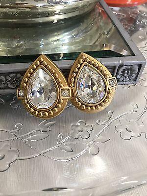 Beautiful Odlr Oscar De La Renta Tear Drop Satin Gold Diamant  Clip Earrings
