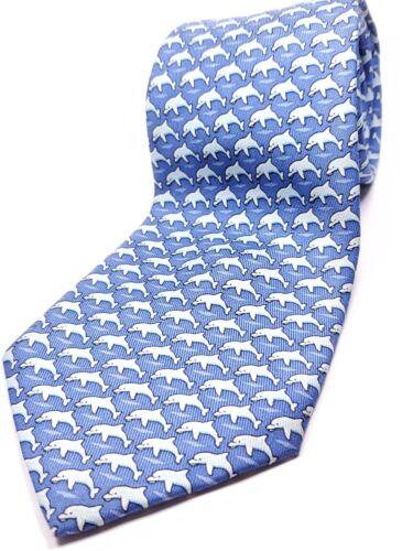 """VINEYARD VINES Handmade in USA Silk Tie Boys 52"""" NWOT Blue White Dolphin Necktie"""