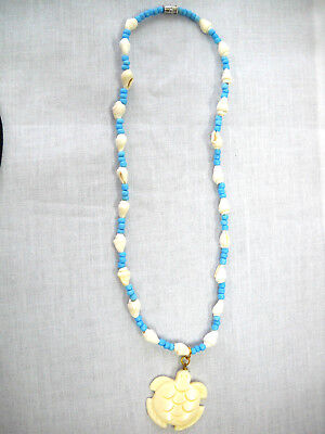 HONU CARVED SEA TURTLE PENDANT ON BABY BLUE GLASS BEAD & WHOLE SHELL NECKLACE (Honu Turtle Glass)