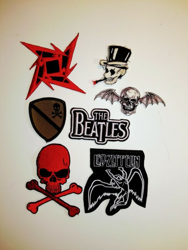 Skull Beatles Led Zeppelin Metallica Patch Lot