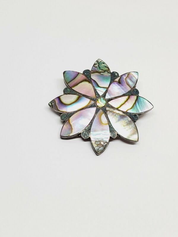 Vintage Taxco ETM 925 Sterling Silver Abalone Flower Brooch Pin Pendant (18)