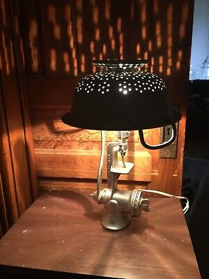 Vintage Steampunk Industrial Style Repurposed Meat Grinder Table Lamp with Shade