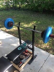 Weight bench/bar/weights and Dumbbells