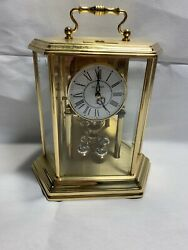 Vintage Bulova Anniversary Mantel Clock Hexagon Carriage Style Brass F3