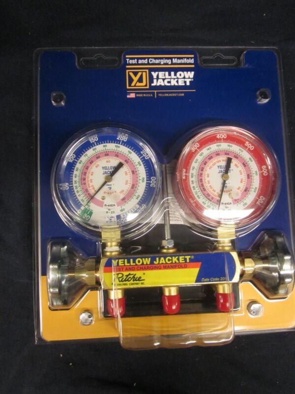 """YELLOW JACKET 2V R404/R410A/R22 3-1/8"""" MANIFOLD W/GAUGES 42001"""