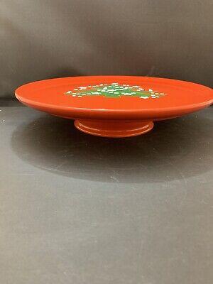 "Christmas Tree Footed Cake Plate 12 1/4"" Waechtersbach New Germany"