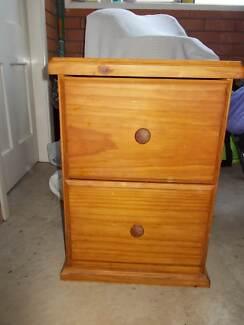 Filing Cabinet 2 Drawer Pine