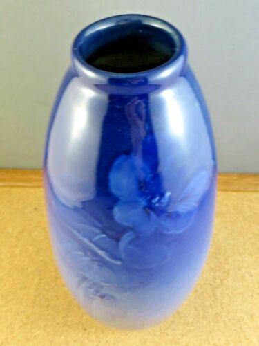 "Antique Vintage Weller 8 1/2"" High Gloss Blue Pansy Louwelsa Art Pottery Vase"
